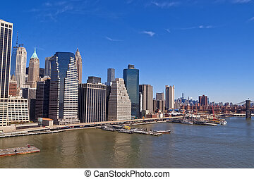 Manhattan midtown panorama over East River with urban...