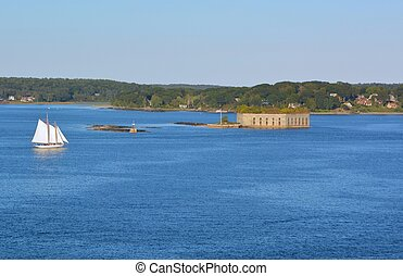 Tall ship passing Fort Gorges - a Tall ship passing Fort...
