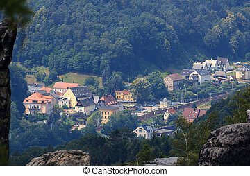 View towards Krippen, district of Bad Schandau in Saxon...