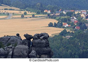 Village Altendorf seen from Schrammstein viewing point in...