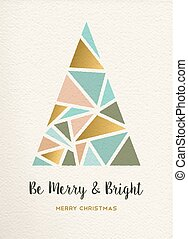 Merry christmas tree triangle gold vintage card