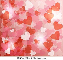Valentines day love heart shape love bokeh background