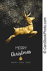 Merry christmas happy new year gold deer low poly - Merry...