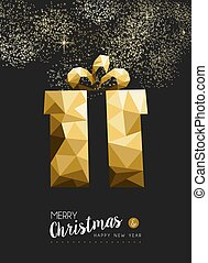 Merry christmas happy new year gold gift triangle - Merry...