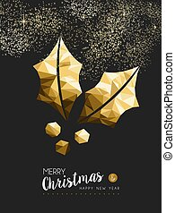 Merry christmas happy new year golden holly low poly - Merry...