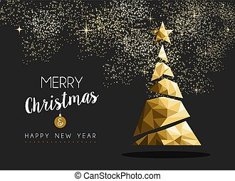 Merry christmas happy new year golden triangle tree - Merry...