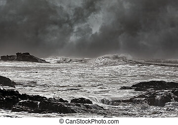 Stormy seascape at noon - Typical sea storm from northern...