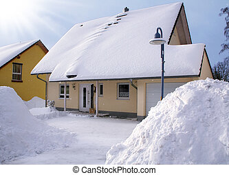 House in the winter - New house in the winter with...