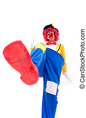 funny clown - clown smashing something with his foot...