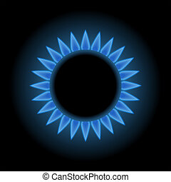 Blue flames of gas stove, natural gas, 3d raster