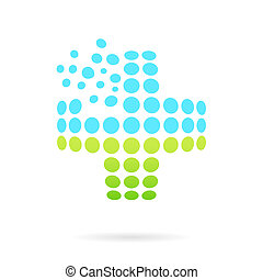 Convex medical cross, 3d raster islated on white background,...
