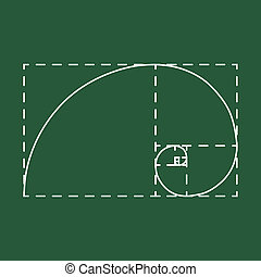 Golden ratio on school blackboard - Golden ratio, 2d raster,...