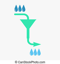 Water filtration concept, 2d raster on dark gray background