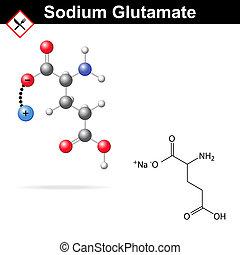 Sodium glutamate molecule - Sodium glutamate - chemical...