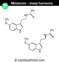 Melatonin hormone molecule - Melatonin hormone 2d structure,...