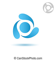 Water cycle icon on white background, three drops, 2d raster