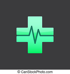 Medical cross sign, m letter, 2d raster on dark background
