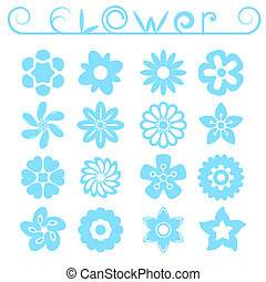 Flower ornaments set, 16 simple floral icons, 2d raster...