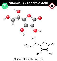 Ascorbic acid molecule, vitamin C - Ascorbic acid, ascorbate...