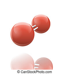 Oxygen molecule icon with reflection; 3d raster sign on...