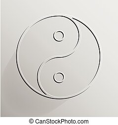 Yin Yang transparent on light grey background