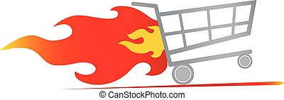 fast shopping cart - vector illustration of fast shopping...