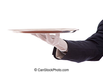 Your special today - formal waiter with a tray isolated on...