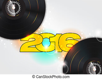 Happy new year 2016  illustration with music background.