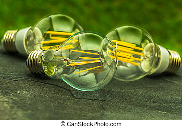 green light,  E27 LED bulbs with different number of chips