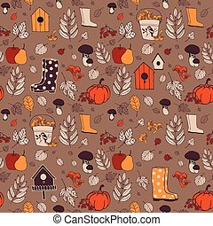 Seamless autumn pattern - The autumn nature Background with...