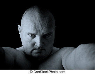 dark male portrait head shot angry man - photo dark male...