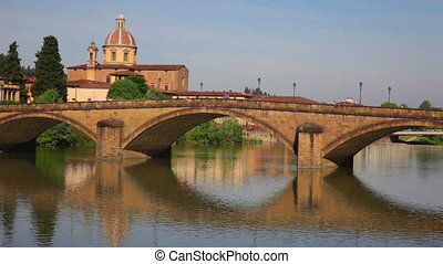 The Ponte alla Carraia across Arno river in Florence -...