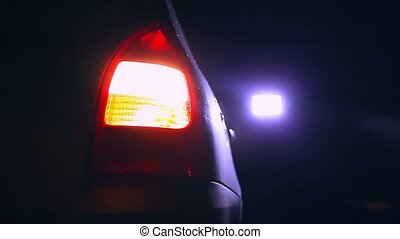 night car blinker light turn beautiful city highlight road...
