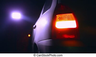 night blinker light car turn beautiful city highlight road...