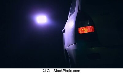 night blinker light turn car beautiful city highlight road...