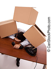 Packaging stress - exhausted businessman after a hard day at...