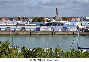 Port of Saint-Gilles-Croix-de-Vie with church Sainte Croix...