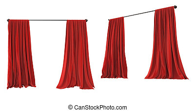 Theater cinema stage red curtains
