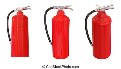 Red fire extinguisher set.Different angle perspective...