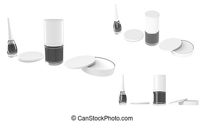 White Cosmetic containers set