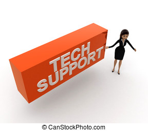 woman  presenting  tech support concept