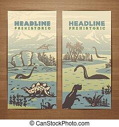 Dino flyer - Prehistoric theme vector card design with...