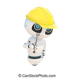 Glossy cute white robot Engineer