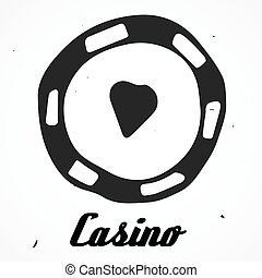 Vector casino chip Hand drawn, doodle isolated