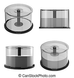 DVD CD Stack case plastic spindle closed,isolated on white...