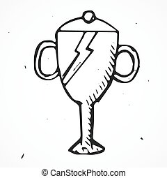 Vector Trophy Hand drawn, doodle object, isolated