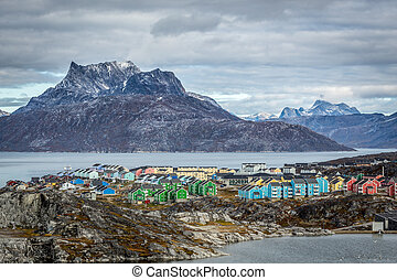Nuuk city landscape, Greenland, October 2015