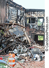 Debris - The debris from a demolished building after a fire