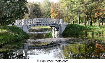 The bridge over a river in autumn park