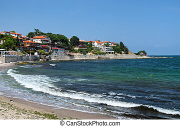 Sea coast in ancient city of Nessebar, Bulgaria